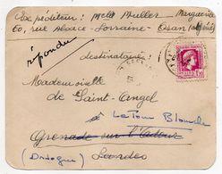 Algérie -1945--Document De ORAN  Pour GRENADE/ ADOUR-40 (France)..timbre. Cachet Manuel - Algérie (1924-1962)