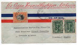 """HAITI -1941--Lettre De PORT AU PRINCE Pour GRENADE/ ADOUR-40 (France)..timbres """"Via Clipper Transatlantique """"Lisbonne"""". - Haïti"""