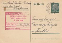 GG Rotes Kreuz: Ganzsache Alwernia Nach Krakau - Occupation 1938-45
