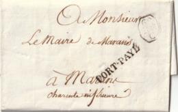 """1822 LAC De PARIS  Pour MARANS CACHET """"PORT PAYE"""" 36x5 En Noir Taxe 7 Au Verso - 1801-1848: Vorläufer XIX"""