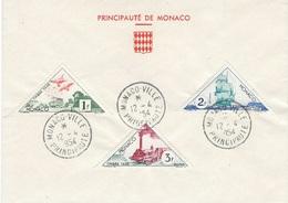 MONACO Timbre-taxe N°39a + 40 + 42 - 12 Avril 1954 - Moyens De Transport - FDC