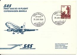 Denmark Cover First SAS DC-10 Flight Copenhagen - Manila 31-3-1981 - Lettres & Documents