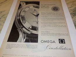 ANCIENNE PUBLICITE REGLE SUR LES ASTRES   MONTRE OMEGA 1958 - Bijoux & Horlogerie