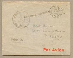Patrouilleur Flamberge Sur Enveloppe En Franchise Poste Navale 4 Décembre 1952 Pour Bordeaux - Cachets Militaires A Partir De 1900 (hors Guerres)