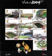 PORTUGAL 2003 UEFA Euro 2004 Estádios, 1 SS Com Carimbo Comemorativo 1º Dia - Blocks & Kleinbögen