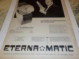 ANCIENNE PUBLICITE AU POIGNET DE YEHUDI MANUHIN  MONTRE ETERNA MATIC .1959 - Bijoux & Horlogerie