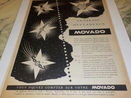 ANCIENNE PUBLICITE LA PARADE DES CADEAUX MONTRE MOVADO  1953 - Bijoux & Horlogerie