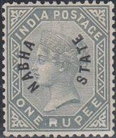 Nabha, Scott #5 Reprint, Mint No Gum, Queen Victoria Overprinted, Issued 1885 - Nabha