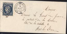Cérès YT 4 Bleu 25ct Oblitération Grille + CAD T15 Fresnes En Woevre (53) 2 3 51 Belles Frappes 55 Meuse - 1849-1876: Periodo Clásico