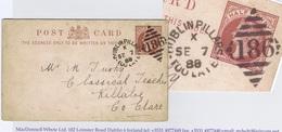 Ireland 1888 DUBLIN PILLARS TOO LATE 186 Duplex For SE 7 88 On Halfpenny Brown Postcard To Killaloe - Irlande