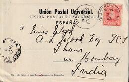 1902-CARTA-Edifil: 243. ALFONSO XIII-CADETE. LAS PALMAS A INDIA. Mat SOUTHAMPTON / SHIP LETTER - Briefe U. Dokumente