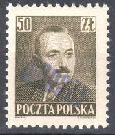 "Poland 1950 - Pres. Boleslaw Bierut - Surcharged ""GROSZY""  Fi.526 - MNH(**) - Unused Stamps"