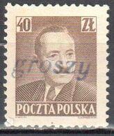 "Poland 1950 - Pres. Boleslaw Bierut - Surcharged ""GROSZY""  Fi.525 - MNH(**) - Unused Stamps"