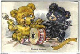 Carte Postale Musicale  Ours  Nounours Humanisés Musiciens  St-Nicolas Trés Beau Plan - Bears