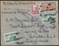 1937-CARTA-Edifil: 835, Local MALLORCA. AÑO JUBILAR COMPOSTELANO. CALA RATJADA A LONDRES. Censura PALMA DE MALLORCA - 1931-Heute: 2. Rep. - ... Juan Carlos I