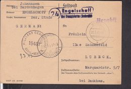 """Landpoststempel """" Engelschoff über Himmelpforten """"  Stade  1945  , Zensur ( Gi170) - Allemagne"""
