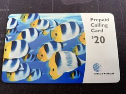 BERMUDA  $20  BERMUDA  CORAL FISH    PREPAID CARD  Fine USED New  Logo C&W **2728** - Bermude