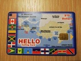St MAARTEN CHIPCARD HELLO  MAP OF ST MAARTEN (RRRR)  $10   ST MAARTEN   **2729** - Antille (Olandesi)
