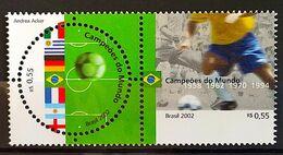 Brazil Stamp C 2449 World Football Champions Seal Flag Italy Uruguay Germany France Argentina England 2002 - Ungebraucht