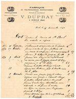 Facture V. DUPRAT  à RISCLE (Gers) : Fabrique De PULVERISATEURS Perfectionnés, Pompes, Baignoires, Ferblanterie, ... - Agriculture
