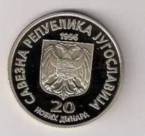 Yugoslavia 20 Novih Dinara 1996. KM#169 Proof  Nikola Tesla - Yugoslavia