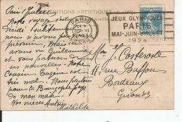 """DAGUIN  """"  JEUX OLYMPIQUES PARIS 1924   """"    30 JUIN 1924 PARIS DEPART - Marcophilie (Lettres)"""