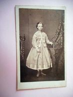 PHOTO CDV 19 EME JEUNE FILLE ELEGANTE ROBE MODE  Cabinet BARBOU A LIMOGES - Oud (voor 1900)