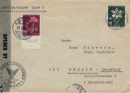 Zürich 1947 Brief Nach Berlin US-Zensur Zivil 30045 - Saxifraga Steinbrech Mit Allonge - Narzisse Osterglocke - Storia Postale