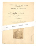 TOP !! - CHEMIN DE FER DU NORD - Fiche Personnel D'exploitation - Receveur L. Jadot D'ENGIS 1882 (b281) - Spoorweg