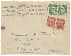 GANDON 3FR VERT PAIRE LETTRE CHAMONIX 22.VIII.1948 POUR SAINT CALAIS TAXE 3FR PAIRE - 1945-54 Marianne De Gandon