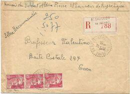 GANDON 5FR ROSE BANDE DE 3 LETTRE REC C. PERLE ST SAUVEUR DE PEYRE 10.3.1947 LOZERE AU TARIF - 1945-54 Marianne De Gandon