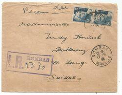 GANDON 10FR GRAVE PAIRE LETTRE REC PROVISOIRE ROMBAS MOSELLE 17.9.1946 POUR SUISSE AU TARIF - 1945-54 Maríanne De Gandon