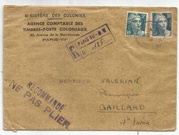 GANDON 10FR GRAVE +2FR VERT LETTRE REC PROVISOIRE PARIS VII 1946 AU TARIF 3EME - 1945-54 Marianne Of Gandon