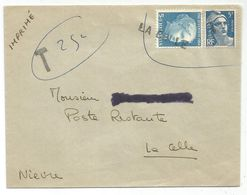 GANDON 5FR BLEU  MIXTE TIMBRE SUISSE 5C ANNULATION GRIFFE LA CELLE EN ARRIVEE - 1945-54 Marianne (Gandon)