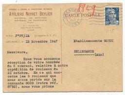 5FR GANDON BLEU SEUL PERFORE NB CARTE PRIVEE ATELIERS NEYRET BEYLIER GRENOBLE ISERE 13.XI.1947 - 1941-66 Armoiries Et Blasons
