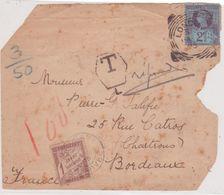 Rare Taxe 1F Marron (TB) Banderole Duval Yvert 25 / Fragment Lettre Londres 3ème échelon Affranchie 2 1/2 P. 1895 - 1859-1955 Lettres & Documents