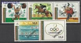 Turkmenistan 1992 Mi 15-19 MNH ( ZS9 TRMspedrepar15-19 ) - Summer 1992: Barcelona
