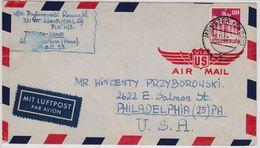 Bizone - 80 Pfg. Bauten, Luftpostbrief N. USA, Munster (Lager) - Philadelphia - American/British Zone