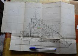 Drague (Hercules) Construite Pour Le Percement Du Canal De Panama - 1885 -  Lot De 2 Planches - Maschinen