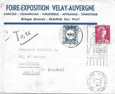 Env. France - Belgique - CàD Le Puy-en-Velay 1957 Taxée à Charleroi - Postage Due Covers