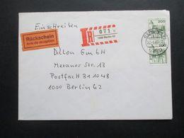Berlin 1977 Freimarken BuS Nr. 540 MeF Senkrechtes Paar Einschreiben Mit Rückschein Berlin Ortsbrief - Cartas