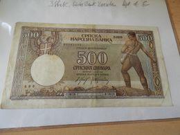 Serbien National Bank  500 Dinara 1942 - Serbia