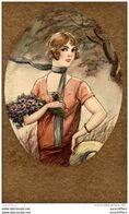2 Belles Illustrations Non Signées - Art Déco - Jeunes Femmes Dans Un Médaillon Doré - 4 Scans - Künstlerkarten