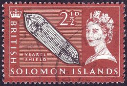 BRITISH SOLOMON IS 1965 QEII 2½dBlack, Light Brown & Pale Yellow Brown SG116 FU - British Solomon Islands (...-1978)