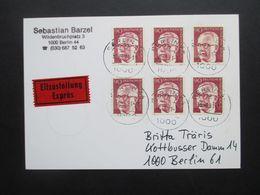 Berlin 1970 Heinemann Nr. 368 (6) MeF Eilzustellung Express Berlin Ortsbrief / Orts PK - Cartas