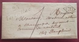 LETTRE 1833 - Cursive 23 VERTEILLAC Pour CHAMPAGNE - CD - Marcofilie (Brieven)