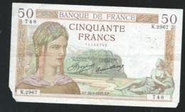FRANCE 50 Francs  Année 1950 - AP.266961935 AP.  K.2967 748   -  Laura5205 - 1871-1952 Antichi Franchi Circolanti Nel XX Secolo