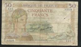 BILLET CINQUANTE 50 FRANCS TYPE CERES  195  J.5316 Laura5209 - 1871-1952 Antichi Franchi Circolanti Nel XX Secolo