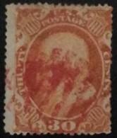 USA Benjamin Franlin  MiNr.:14 Gest. Used Roter Stempel - Gebruikt