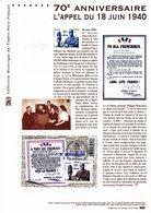 """"""" 70 ANS DE L'APPEL DU 18 JUIN 1940 PAR DE GAULLE  """" Sur Document Officiel 1er Jour  N° YT F4493. Parf état. DPO - De Gaulle (Général)"""